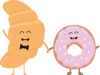 Desayunos a domicilio en Madrid y en toda España - Desayunos Kubala - Personajes croissant y donut