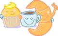 Desayunos a domicilio en Madrid y en toda España - Desayunos Kubala - Personajes una magdalena una taza y un croissant